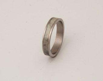 antler and titanium ring wedding band mens antler ring