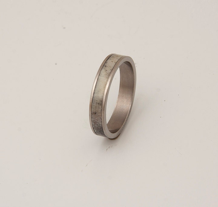 Antler And Titanium Ring Wedding Band Mens Antler Ring