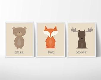 "Fox, Moose and Bear Nursery Art, Baby Boy Woodland Art, Instant Download - Set of 3 -8x10"" prints- N1077,1078,1079"