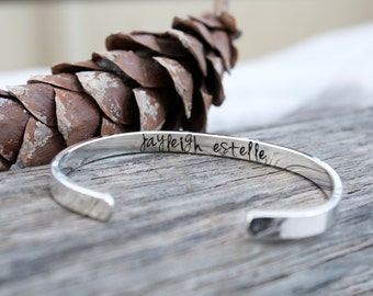 Thick Heavyweight Sterling Silver Hand Stamped Cuff Bracelet