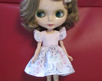 Blythe Doll Outfit Cloth flower print Pink Dress