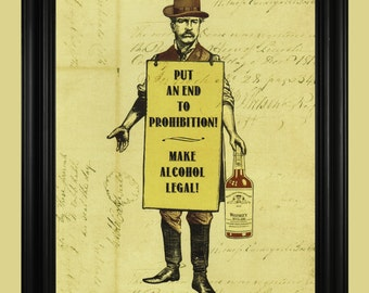 Prohibition Art Print, Bootlegger Man Illustration, Old Fashioned Alcohol Sign, Vintage Whisky Poster