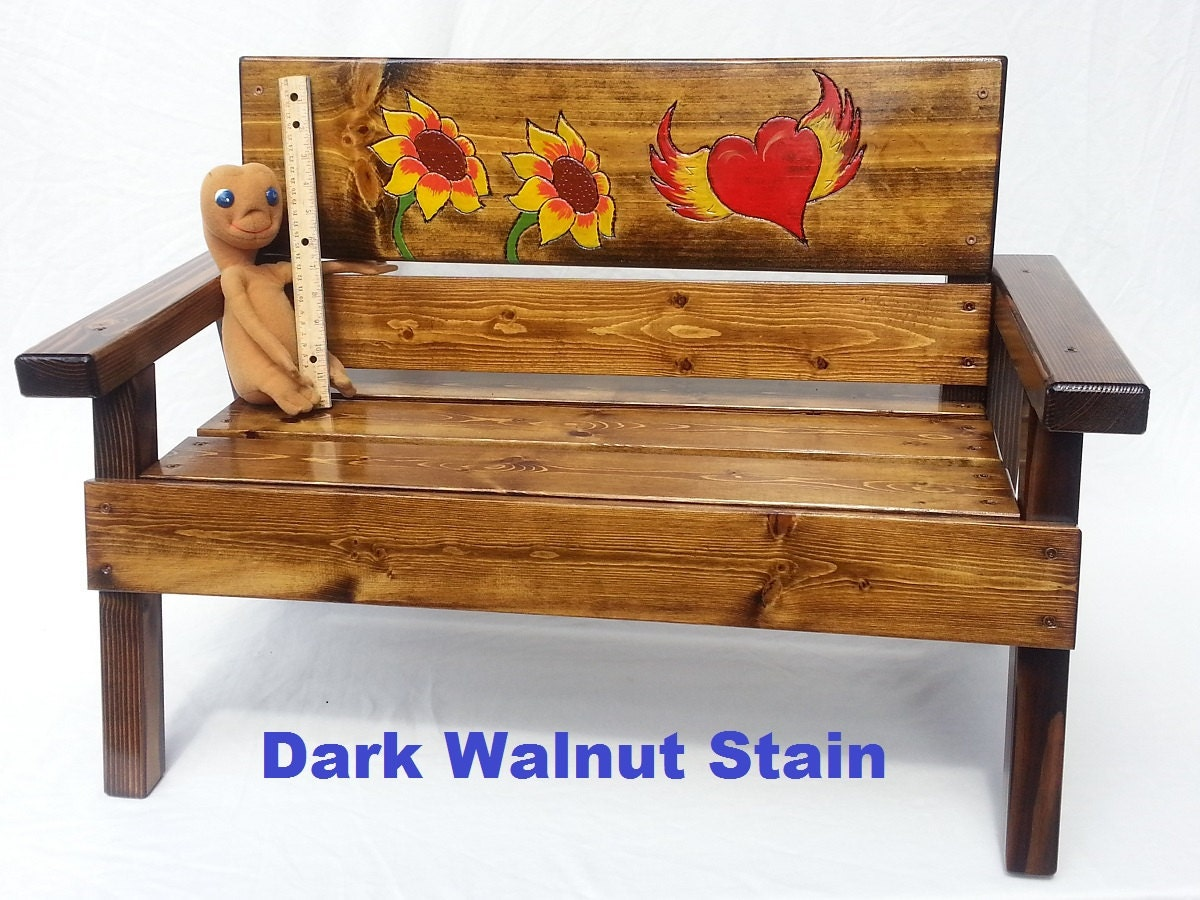 Children Furniture Wood Heart And Sunflower By