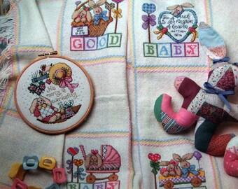 Baby Bunnies Afghan By Linda Coleman Vintage Cross Stitch Pattern Leaflet 1995