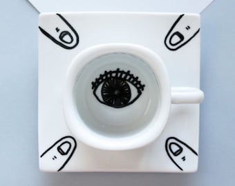Ceramic Espresso cup with Saucer in eye and finger design