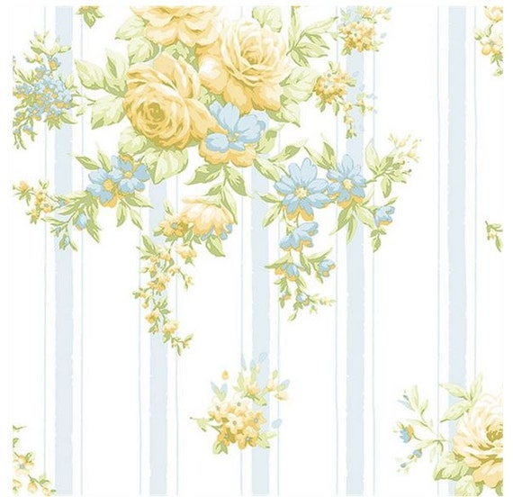 Yellow Rose Floral On Light Blue And White