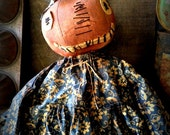 Primitive Folk Art Handcrafted Pumpkin Doll--Sweet Sally Pumpkin--Fall, Autumn, Halloween, Hafair Team, FAAP