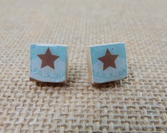 Petite Blue Star Cupcake Scrabble Tile Post Earrings - Gifts for Her - Gifts Under 5