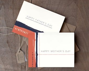 Happy Mother's Day Card -  Red Brushstroke abstract card - Simple Mother's Day Card