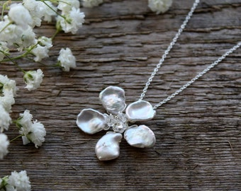 Bridal necklace, wedding necklace, bridal jewelry, wedding jewelry, keishi pearl, Swarovski crystal, sterling silver, flower, floral, simple