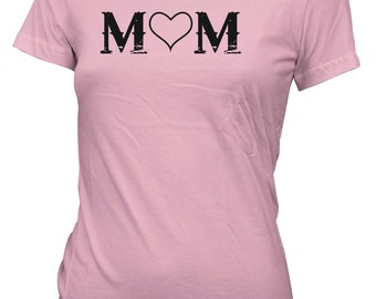 Junior's Greatest Mom Love Heart T-Shirt Mother's Day Gift Tee