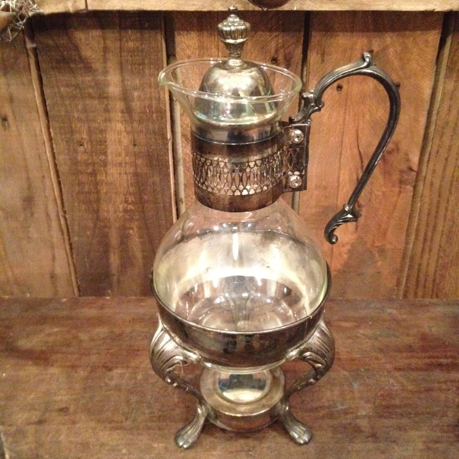 Antique coffee carafe pitcher and base