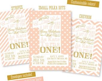 Peach Gold First Birthday Invitation - A Little Cake - BIG ONE - 1st Bday Girl Chevron Stripes Dots - Custom Printed Party Invites Envelopes