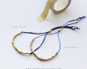Blue / Thread Bracelet / Gold Bead Bracelet / Blue Bracelet / Bridesmaid Bracelet / Gold Delicate Bracelet / Wish Bracelet / Navy Bracelet