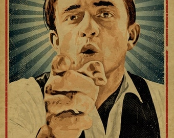 Johnny Cash poster. 12x18. Country Music. Kraft paper. Knoxville. Nashville. Tennessee. Art. Print. Printing.