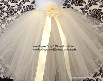 Long Ivory Tutu Skirt, Ivory Chamapgne Long Tutu, Long Flower Girl Tutu, Ivory Long Tutu, Ivory Tutu Skirt, Long Beige Children's Tutu