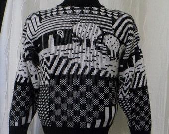 Ski Sweater, City Scene, Crewneck Sweater - (Women's Size: Small?), Black and White, Vintage 90s Sweater