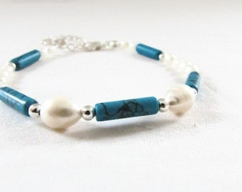 Turquoise and freshwater pearl bracelet, handmade in the UK