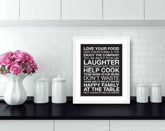 Dinner and Kitchen Rules Wall Art Print - Modern - Black and White - Typography Poster - House Rules - Subway Sign - 8x10