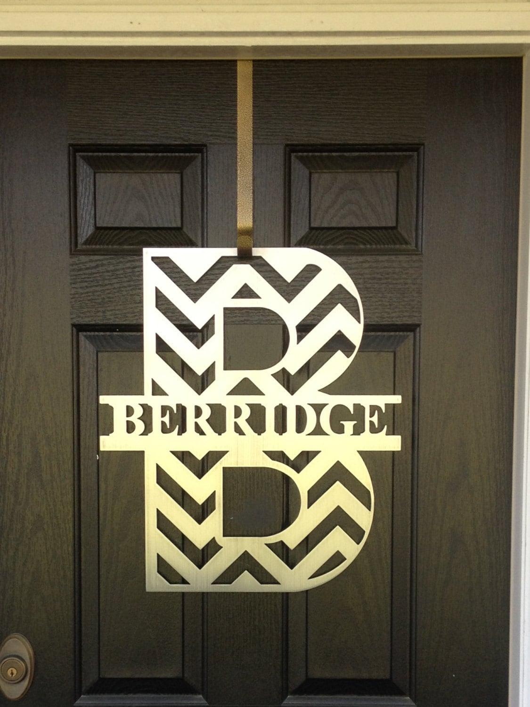 Chevron Monogram Front Door Wreath Monogram Door Wreath