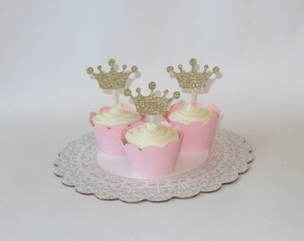 Princess Crown Cupcake Toppers - Princess Party - Princess Toppers - pink and gold birthday - princess theme party- cale smash session