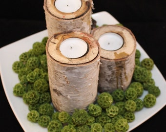 Birch Candle Holder, Rustic Home Decor, Birch Logs, Wedding Center Pieces for Tables, Table Centerpieces, Rustic Wedding Decor, Birch Wood