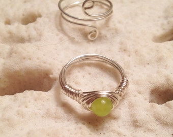 Healing Rings- Silver Wire Wrapped Lime Jade Midi Ring Set
