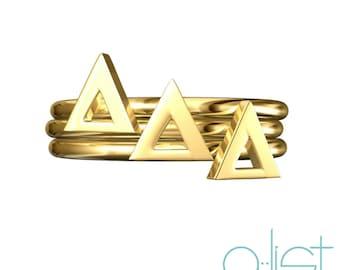 Delta Delta Delta Sorority Stack Ring / Delta Stack Rings / Delta Delta Delta Sorority Rings / Tri-Delta Rings / Big Little Gifts