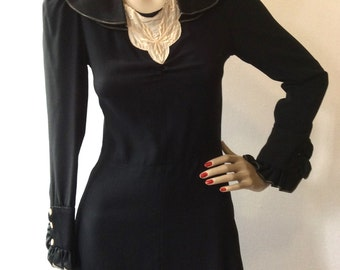 Vintage 70's with  30's style Black dress in Moroccan crepe