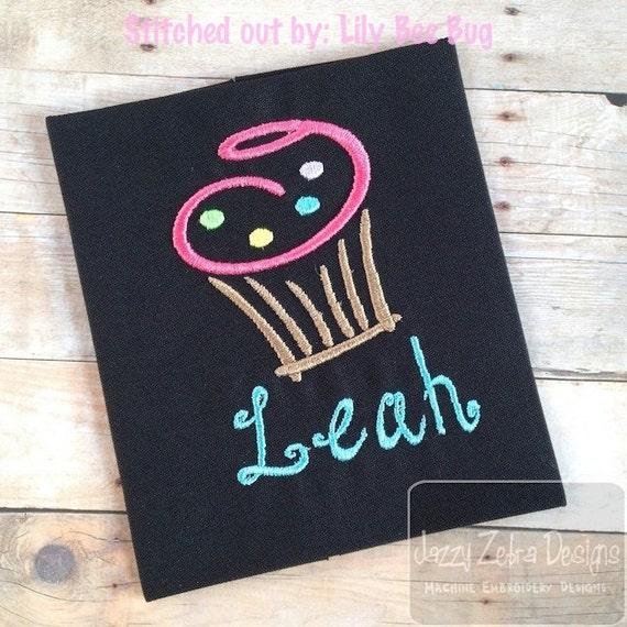 Cupcake Satin Stitch outline Embroidery Design - cupcake embroidery design - dessert embroidery design