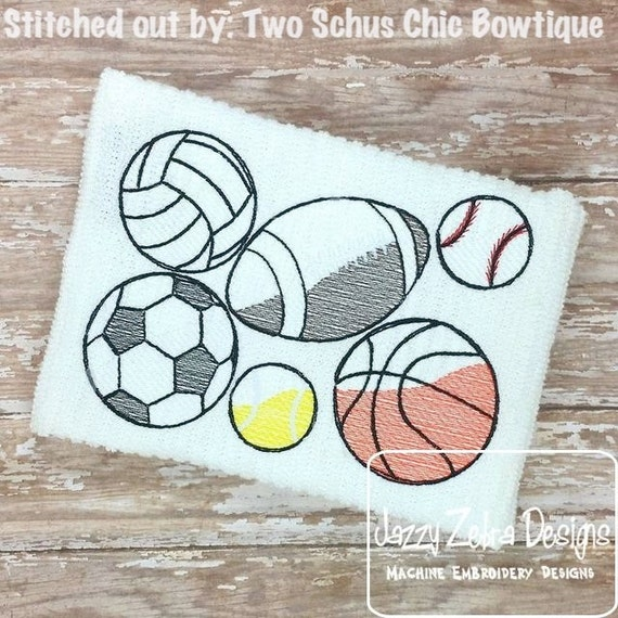 Sports Balls Sketch Embroidery Design - football Sketch Embroidery Design - basketball Sketch Embroidery Design - baseball Sketch Embroidery