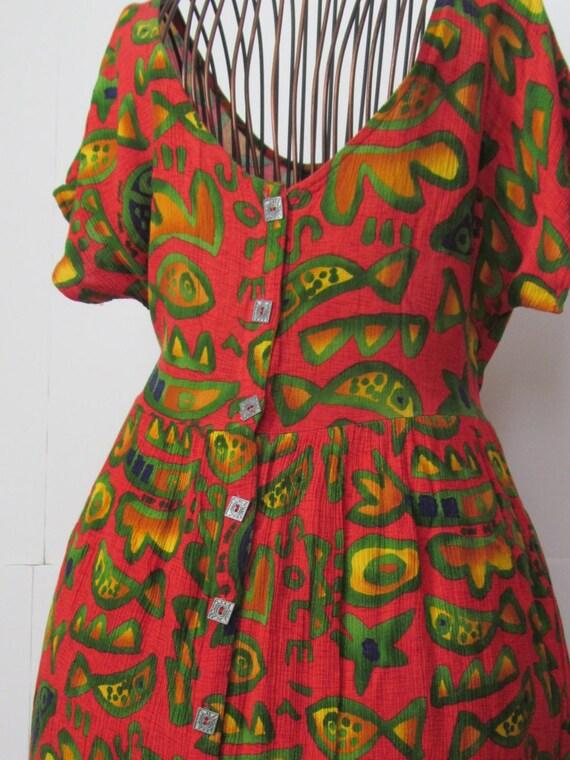 90s Summer Dress Fish Print Big Hed Designs Womens Dress Sz M
