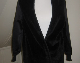 Vintage black 1960s button in coat liner / Satin sleeves fleece