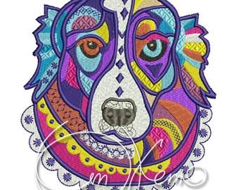 MACHINE EMBROIDERY DESIGN - Calavera Aussie dog, Dia de los muertos, calavera dog, day of the dead, australian shepherd