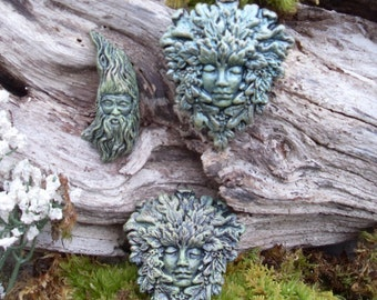 Green Man,Green Woman,Miniature Woodland Nature Spirits,Tree Spirit Ornaments,Druid Tree Spirits, Fairy Garden Decor