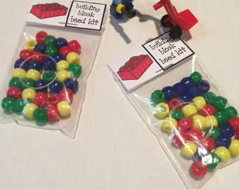 10 Lego Building Block Bead Kits - Lego Party Favor with FREE Customization of the Birthday Child's Name!