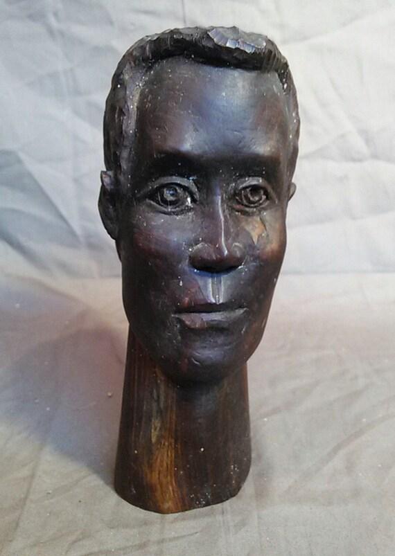 Old Vintage Jamaica Jamaican Wood Carved Carving Black Man By