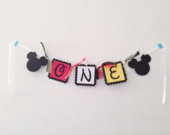 Mickey Mouse One High Chair Banner - High Chair Banner - Mickey Mouse 1st Birthday Banner - First Birthday Banner