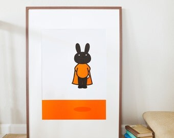 Original Letterpress Poster Letterpress Print  Woodcut Print Woodblock print Kitchen Decor • Dorm Decor • Printmaking: Super Bunny Rabbit A3