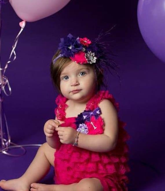 Hot Pink & Purple Cake Smash Outfit Hot Pink Lace Petti