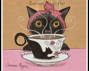 Good Morning, Wake up, It's coffee time, A whimsical kitty portrait, card or print -  Cats, Drawing with Watercolor accents, Item #0310a