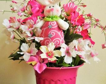Easter arrangement. Spring floral decor, tabletop decor, Spring arrangement, pink decor, bunny decor.