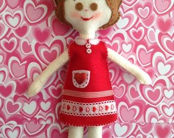 Valentine  Rag -Doll / Lovely Handmade Doll / Felt Rag-Doll - handmade and design in felt decor with cute details
