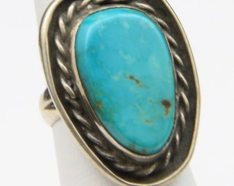 Vintage Sterling Silver & Turquoise Ring Large Stone Southwestern Artisan Sz 6