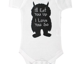 Cute Where the Wild Things Are, Ill Eat You Up, Baby Boy, Where the Wild Things Are, Baby Clothing, Ill Eat you Up, Baby Gifts #11