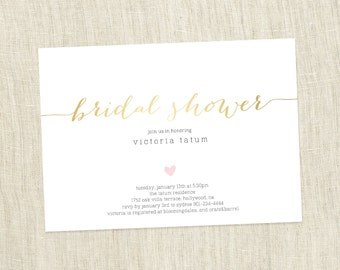 Your Custom Colors - Bridal Shower Invite, Heart Shower, Simple Modern Bridal Shower Invite , Simple Shower Customizable - PRINTABLE / DIY