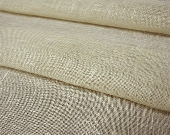 Cream Ivory Gauze pure Linen Flax fabric Transparent Sheer Natural ECO-friendly - sold by the Yard
