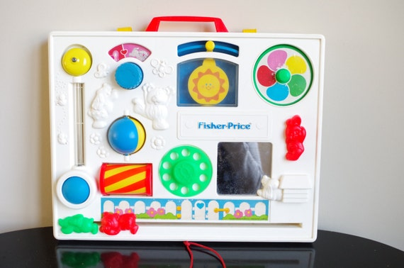 fisher price activity center 1980s crib toy bright colorful. Black Bedroom Furniture Sets. Home Design Ideas