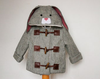 Childrens and Babies Miss or Mr Rabbit Winter Felt Duffle Coat! With 100% Wool Felt!