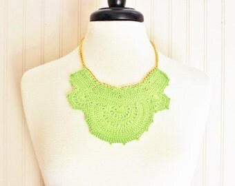 Lime Green Crochet Necklace